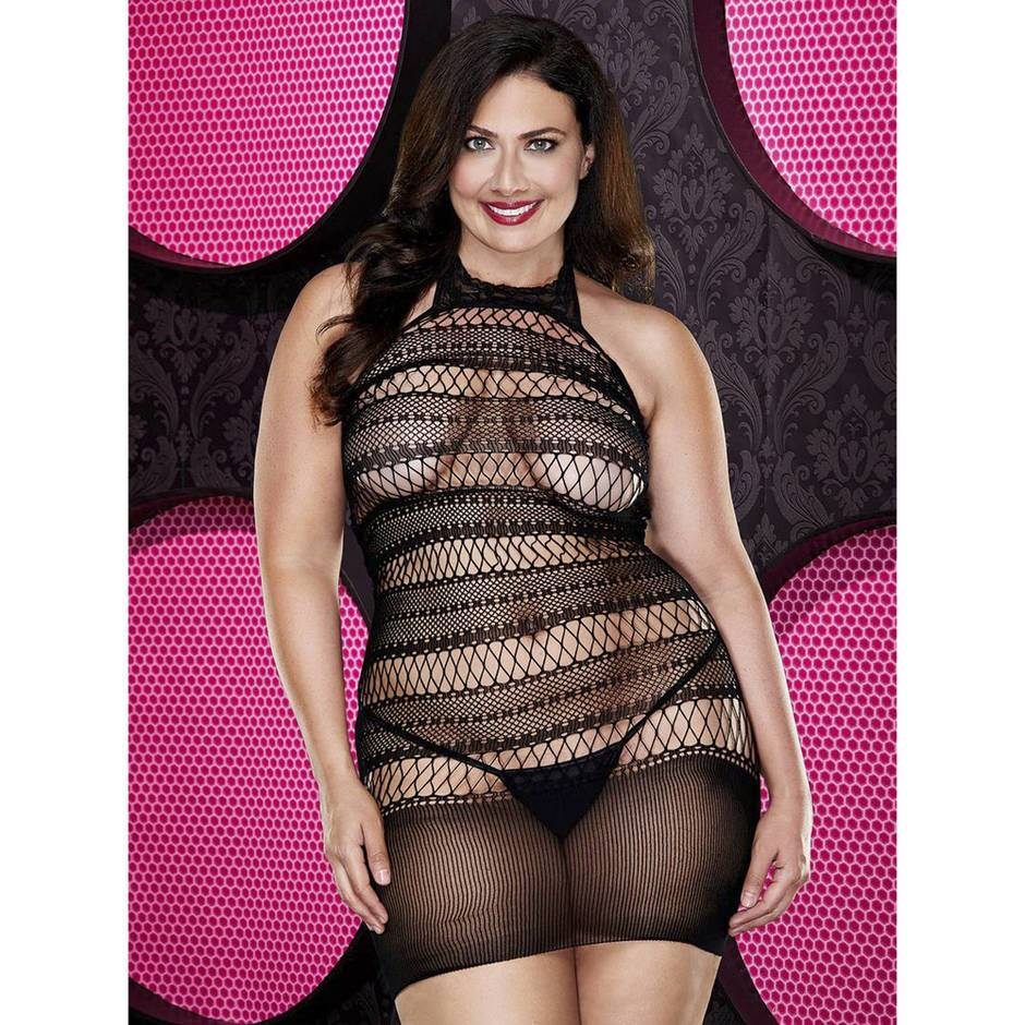 Lapdance Plus Size Crochet Mini Dress