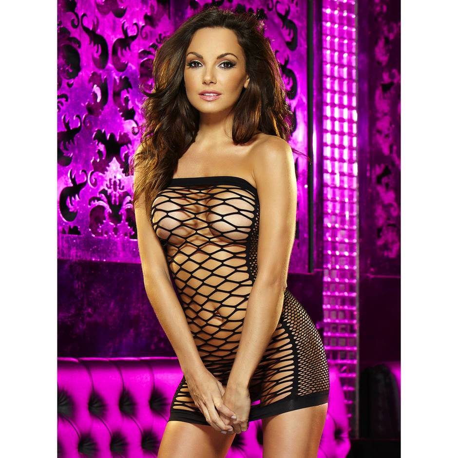 Lapdance Diamond Net Strapless Mini Dress