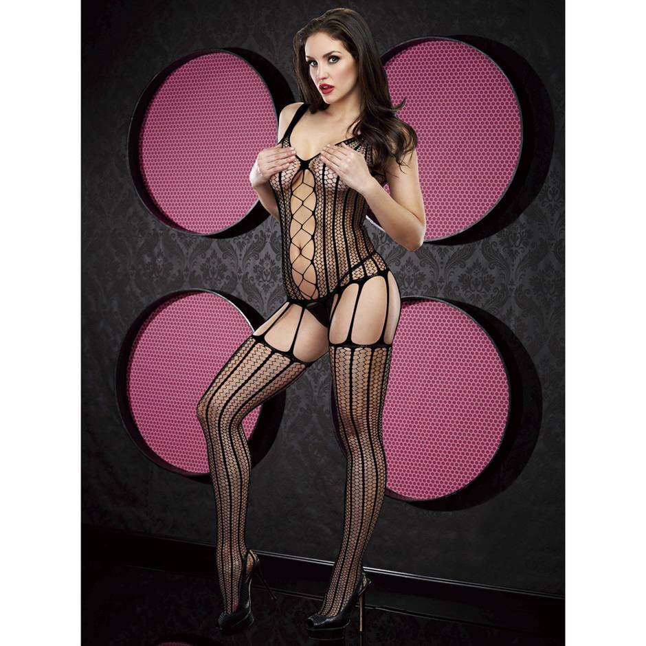 Lapdance Criss-Cross Crotchless Garter Bodystocking