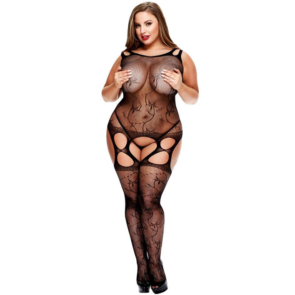 Lapdance Plus Size Cut Out Lace Suspender Bodystocking
