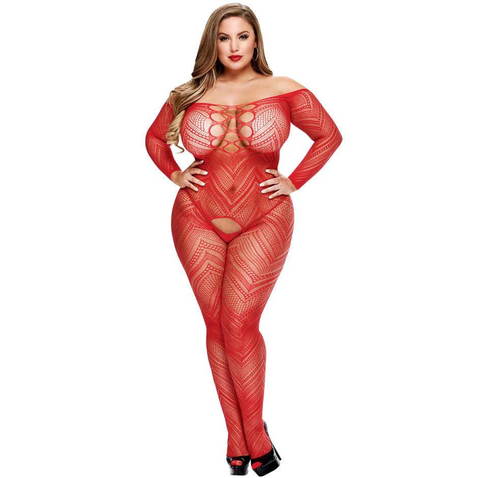 Lapdance Plus Size Long Sleeve Bardot Crotchless Bodystocking