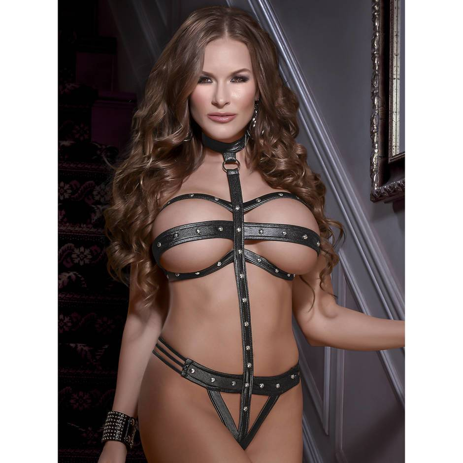 Exposed Lust Wet Look Strappy Choker Body