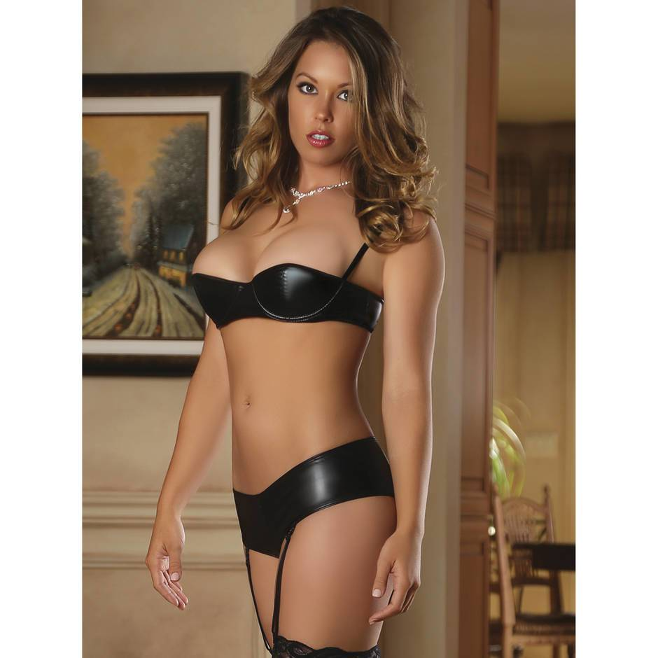 Exposed Wet Look Half Cup Bra and Garter Shorts Set