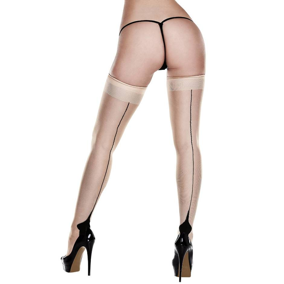 Baci Lingerie Nude Cuban Heel Stockings
