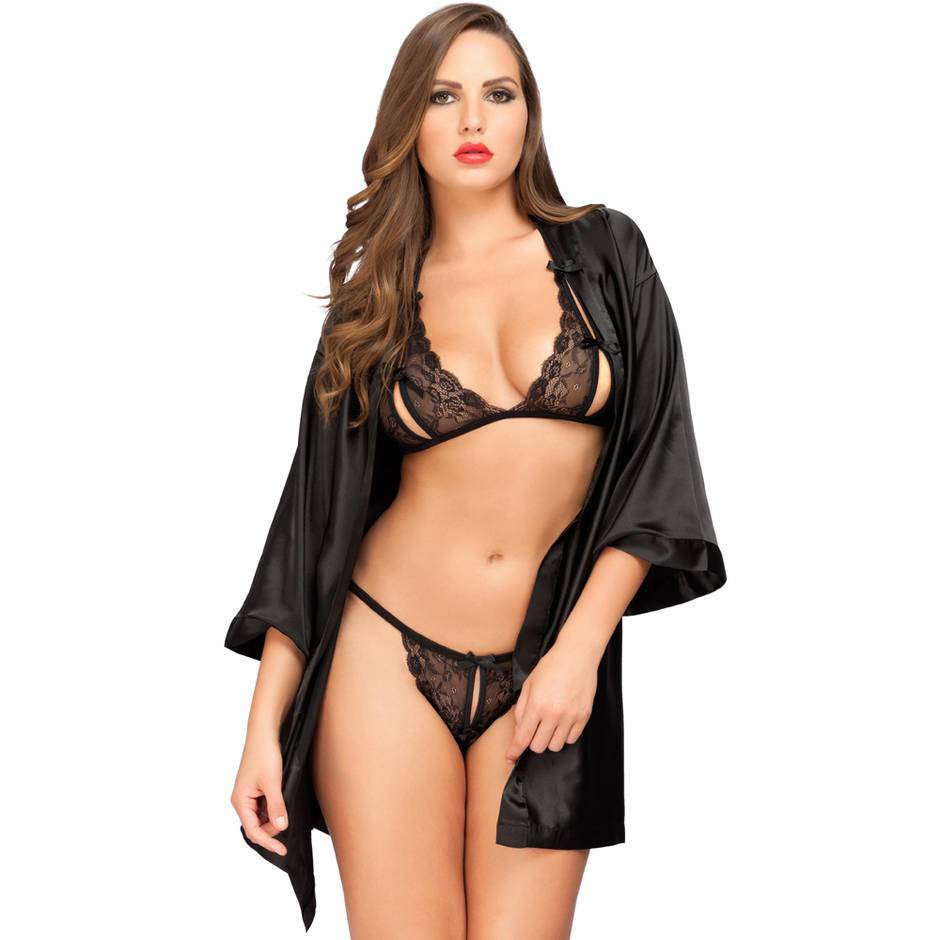 Lovehoney Peek-a-Boo Bra Set and Satin Robe Bundle
