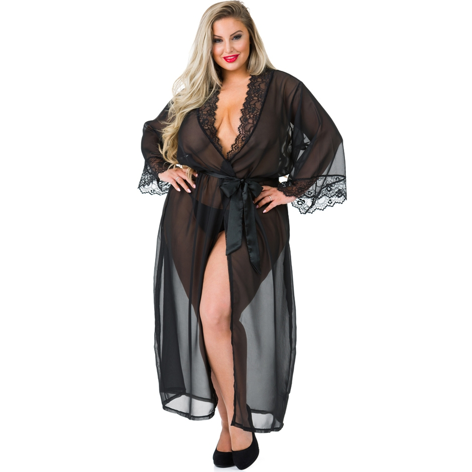 Déshabillé long transparent grande taille Barely There noir, Lovehoney
