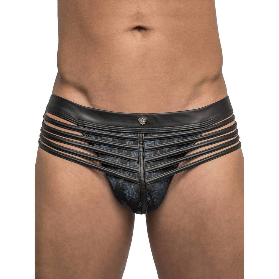 Male Power Strapped and Bound Wet Look Open-Back Brief