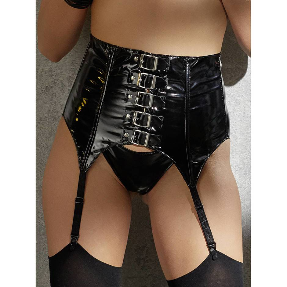 Black Level PVC Buckled Suspender Belt