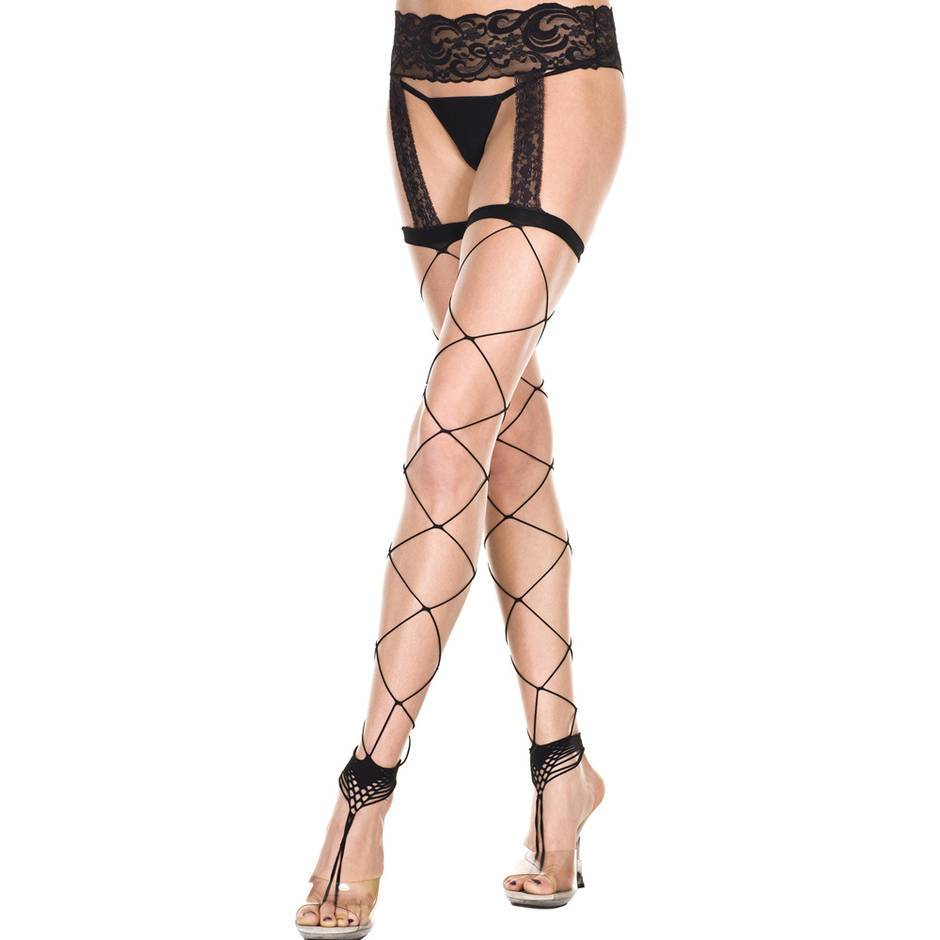 Music Legs Big Net Footless Garter Belt Pantyhose