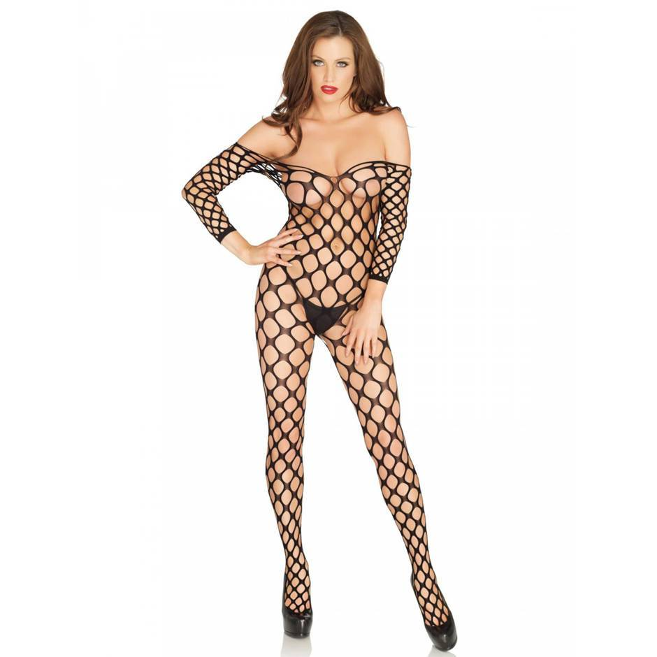 Leg Avenue Ring Net Off the Shoulder Bodystocking