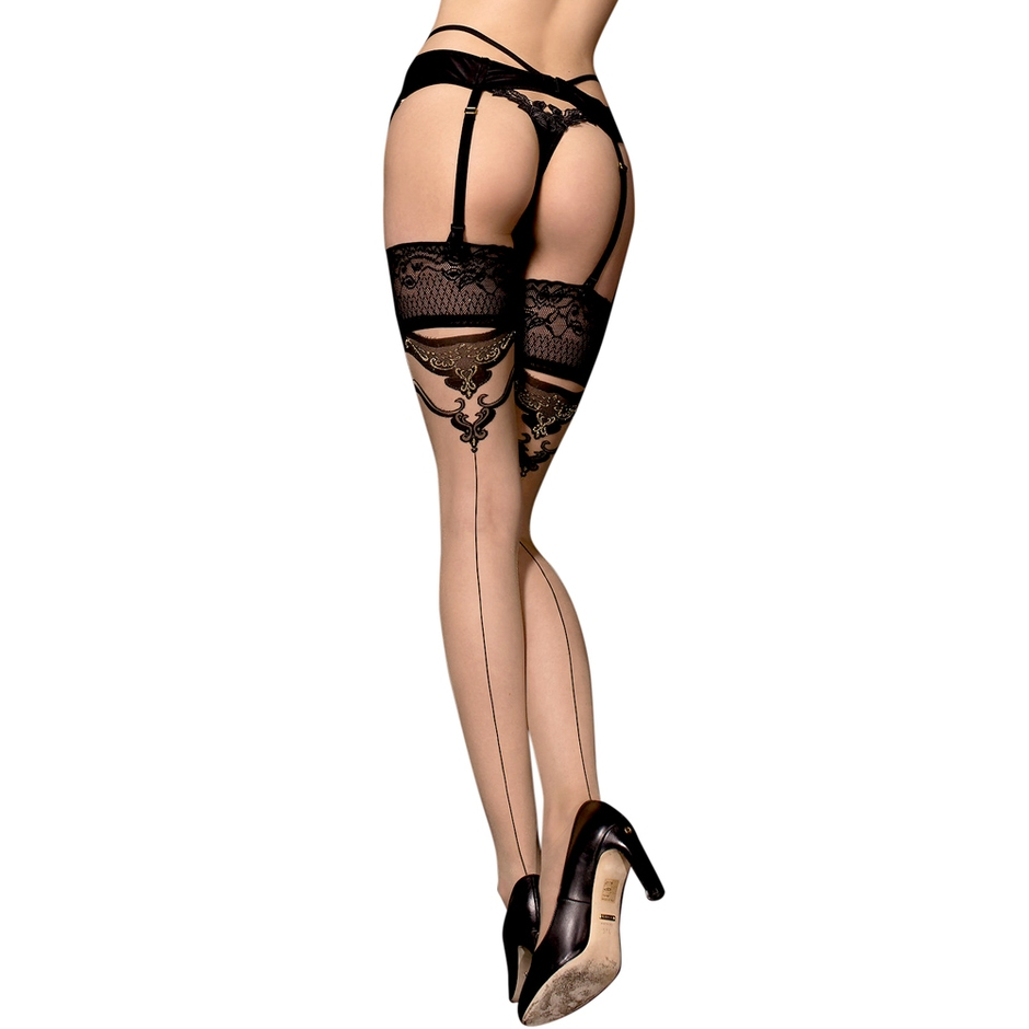 Ballerina Luxury Lace Top Back-Seam Hold-Ups