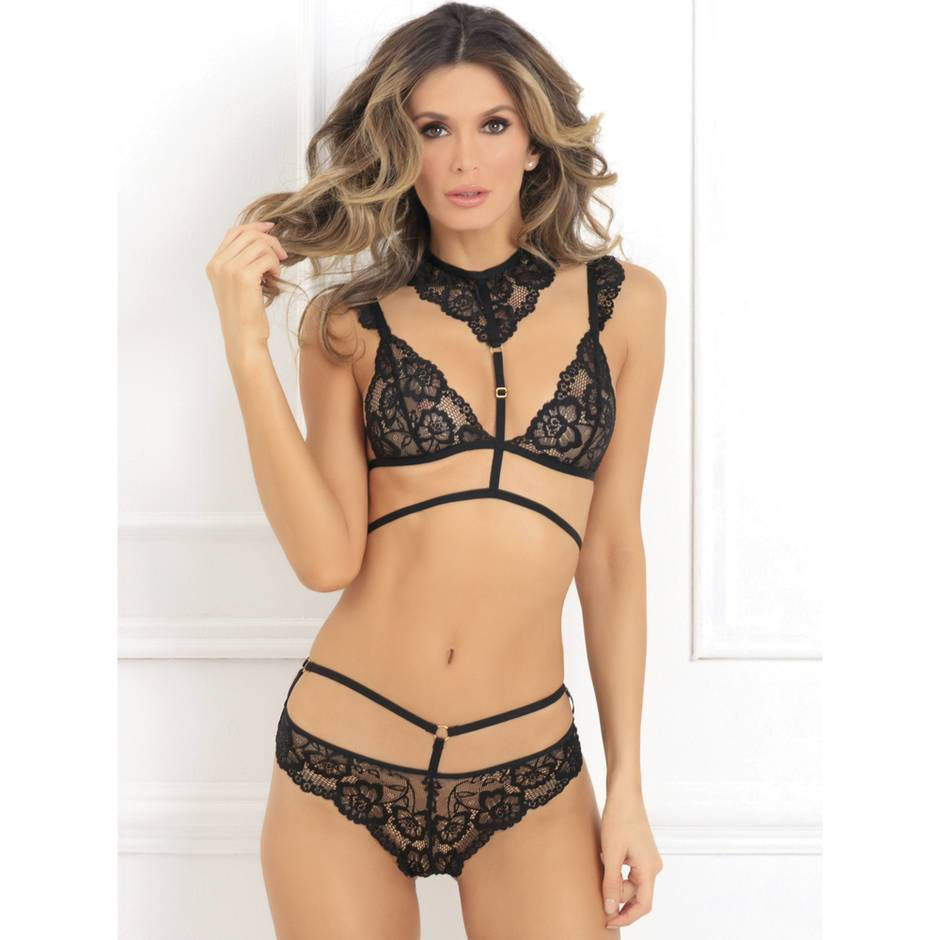 Rene Rofe Choker Harness Bra and Thong Set