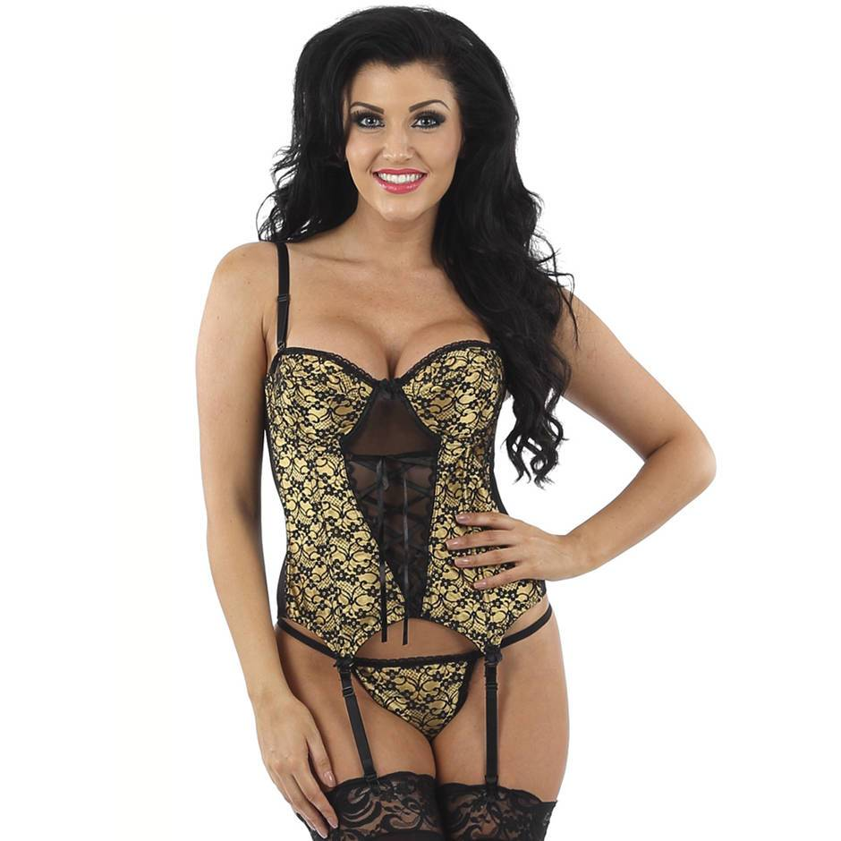Classified Gold Satin and Lace Basque Set
