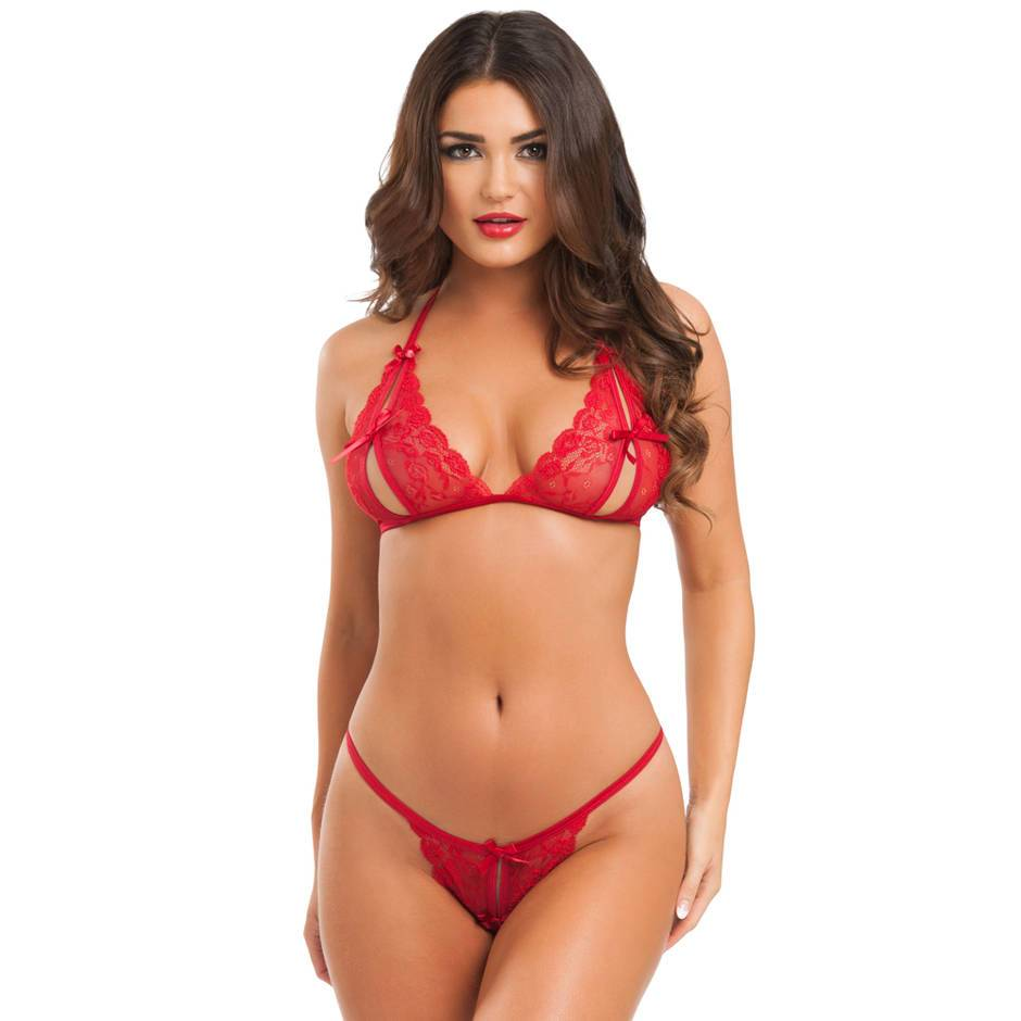 Lovehoney Red Lace Peek-a-Boo Bra and Crotchless G-String Set