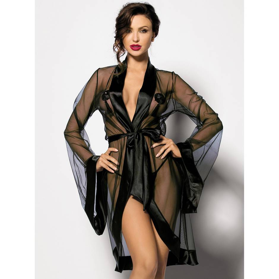 Anais Anthis Satin Trimmed Mesh Robe and G-string