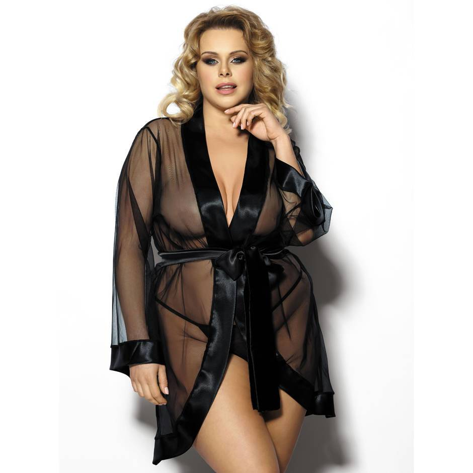 Anais Maerin Plus Size Satin Trimmed Mesh Robe and G-string