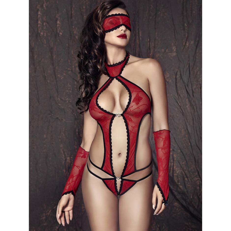 Anais Halterneck Lace Body with Gloves and Blindfold