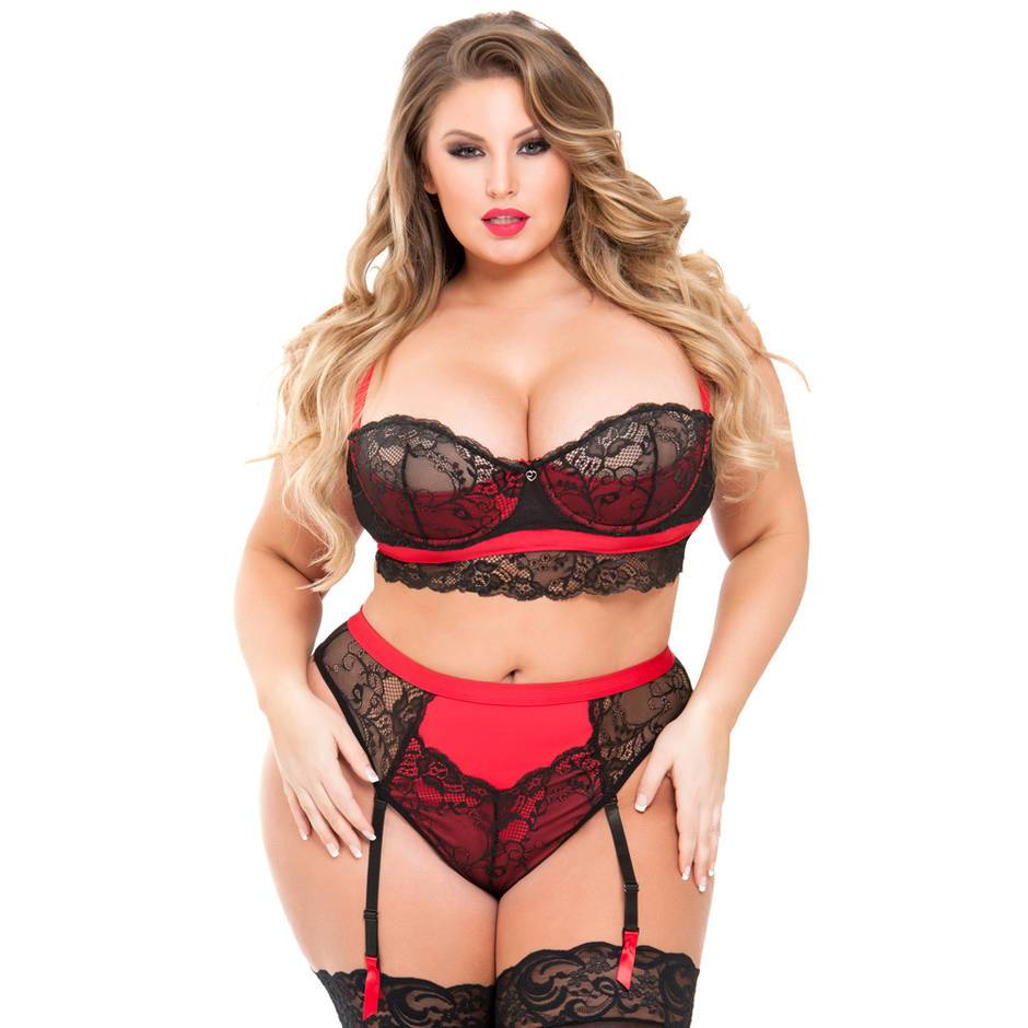 Lovehoney Plus Size Adore Me Red Underwired Longline Bra Set