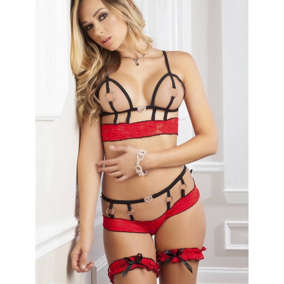 G World Lace Open Cup Bra Set with Garters