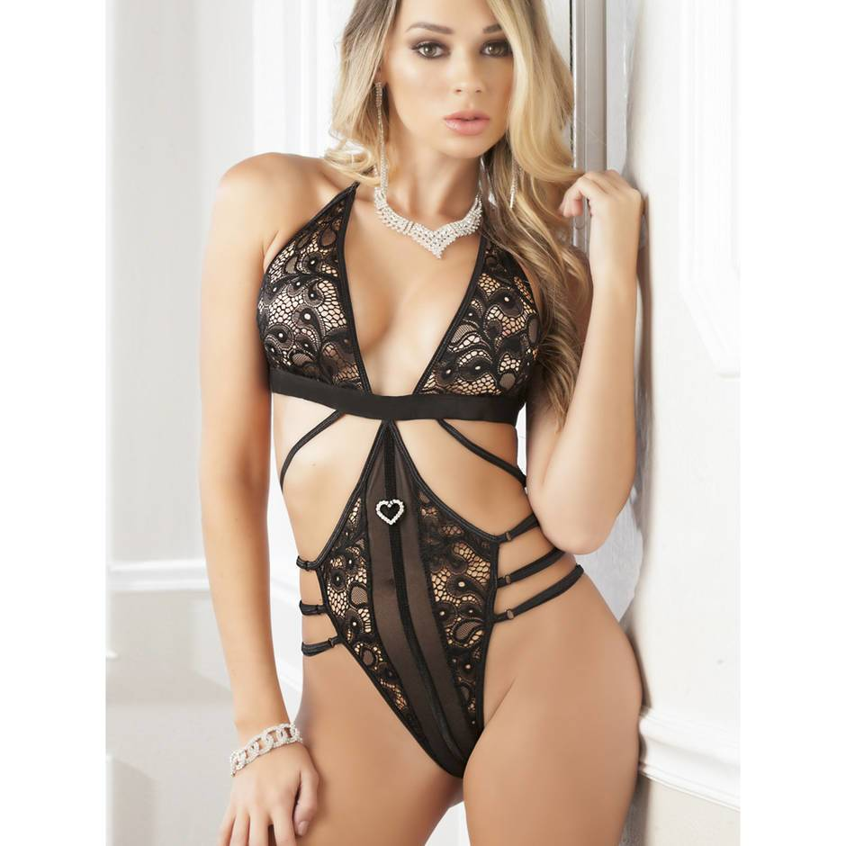G World Halterneck Plunge-Front Strappy Body
