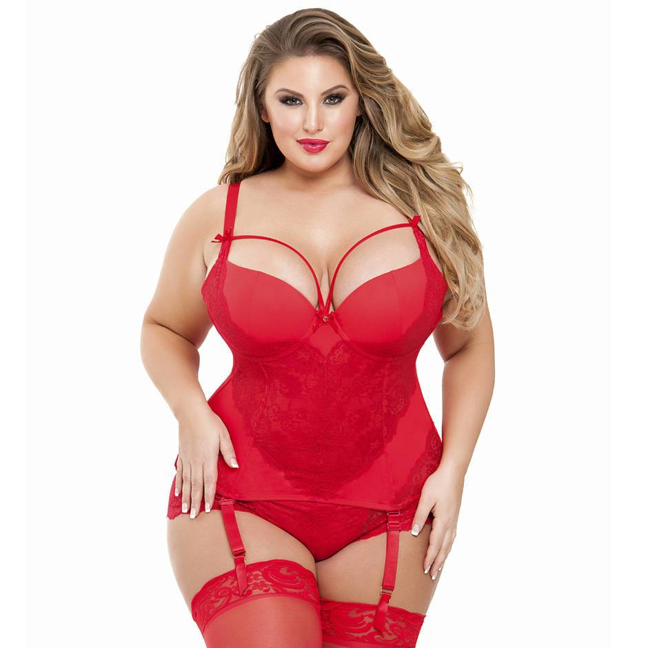 Lovehoney Plus Size Belle Amour Red Basque Set