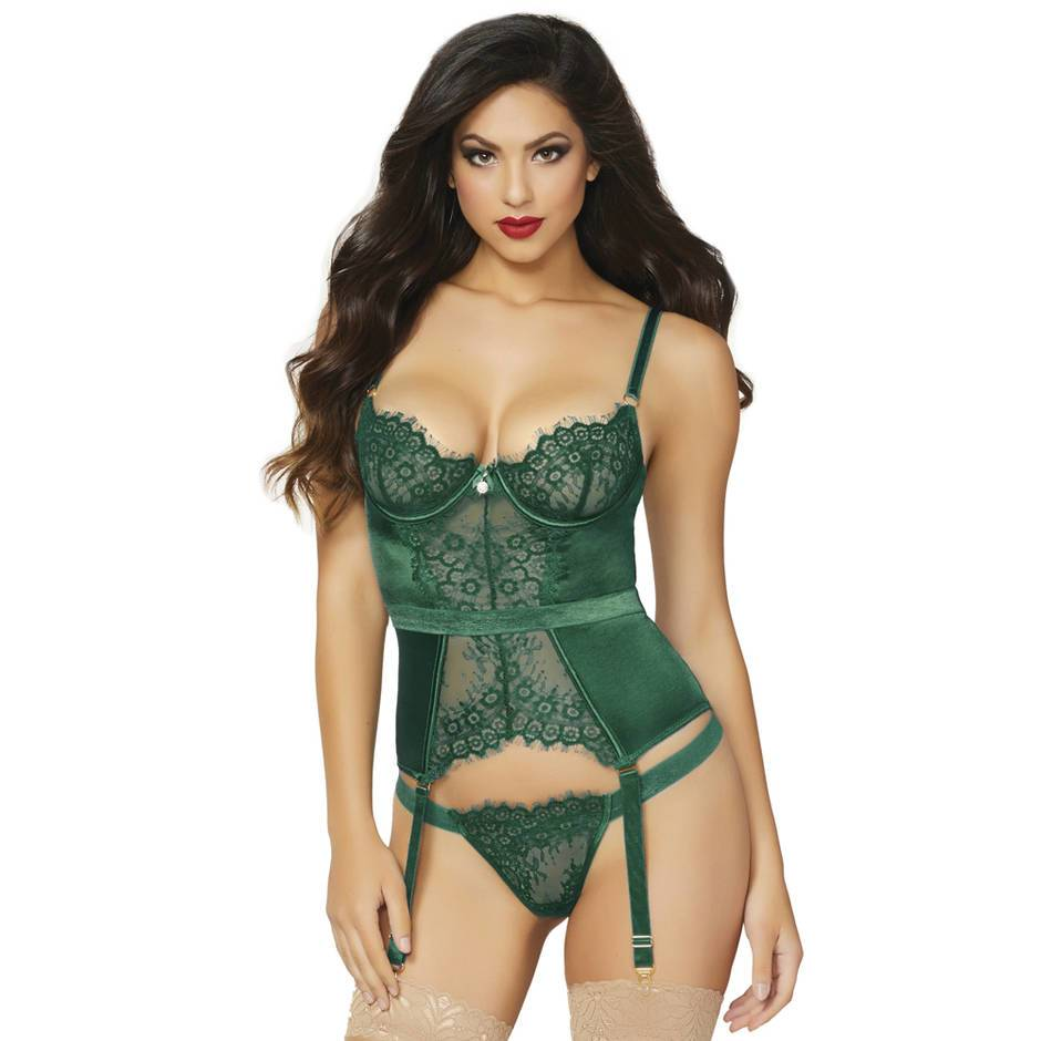 Seven 'til Midnight Satin and Lace Underwired Bustier Set