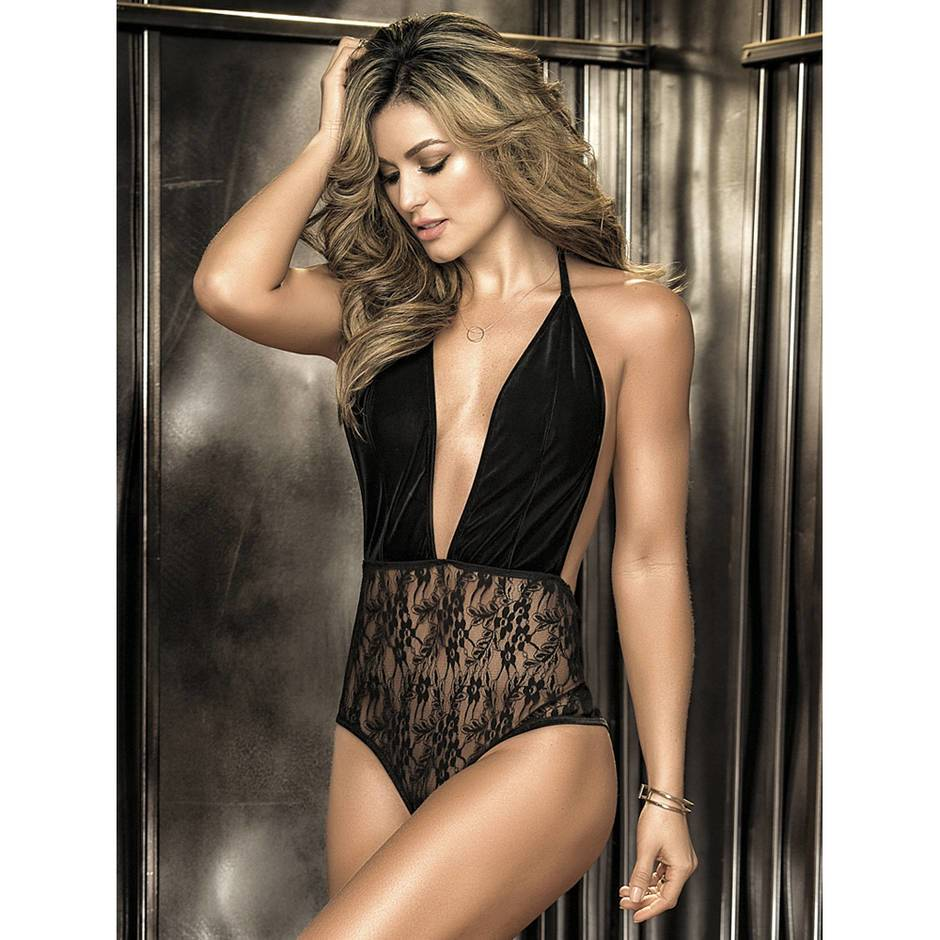 Mapale Deep Plunge Velvet and Lace Body