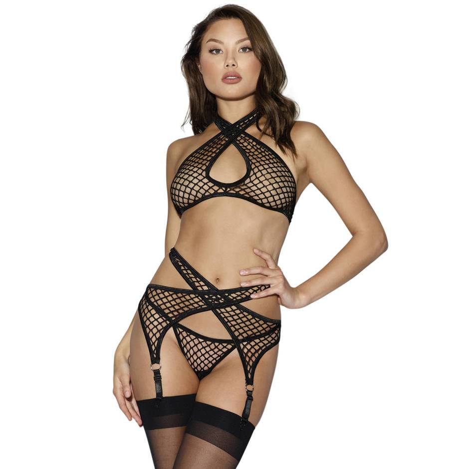 Dreamgirl Fishnet Bra Set (3 Piece)