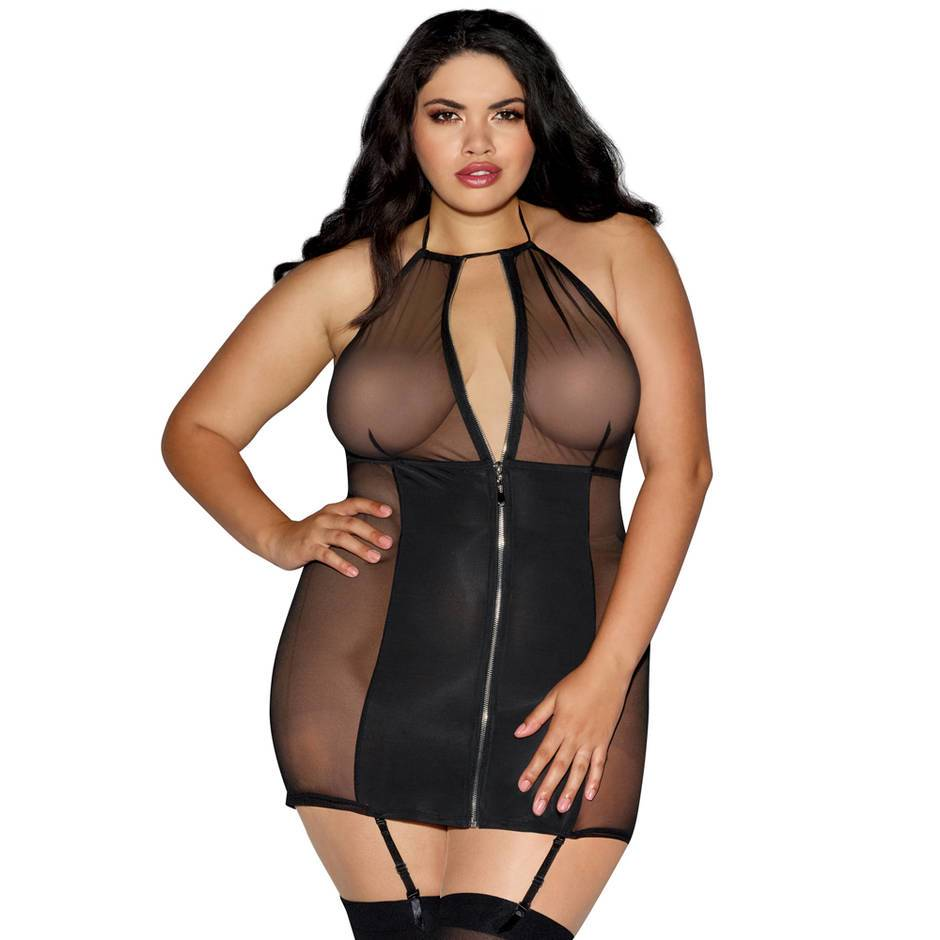 Dreamgirl Plus Size Halterneck Zip-Front Mesh Mini Dress
