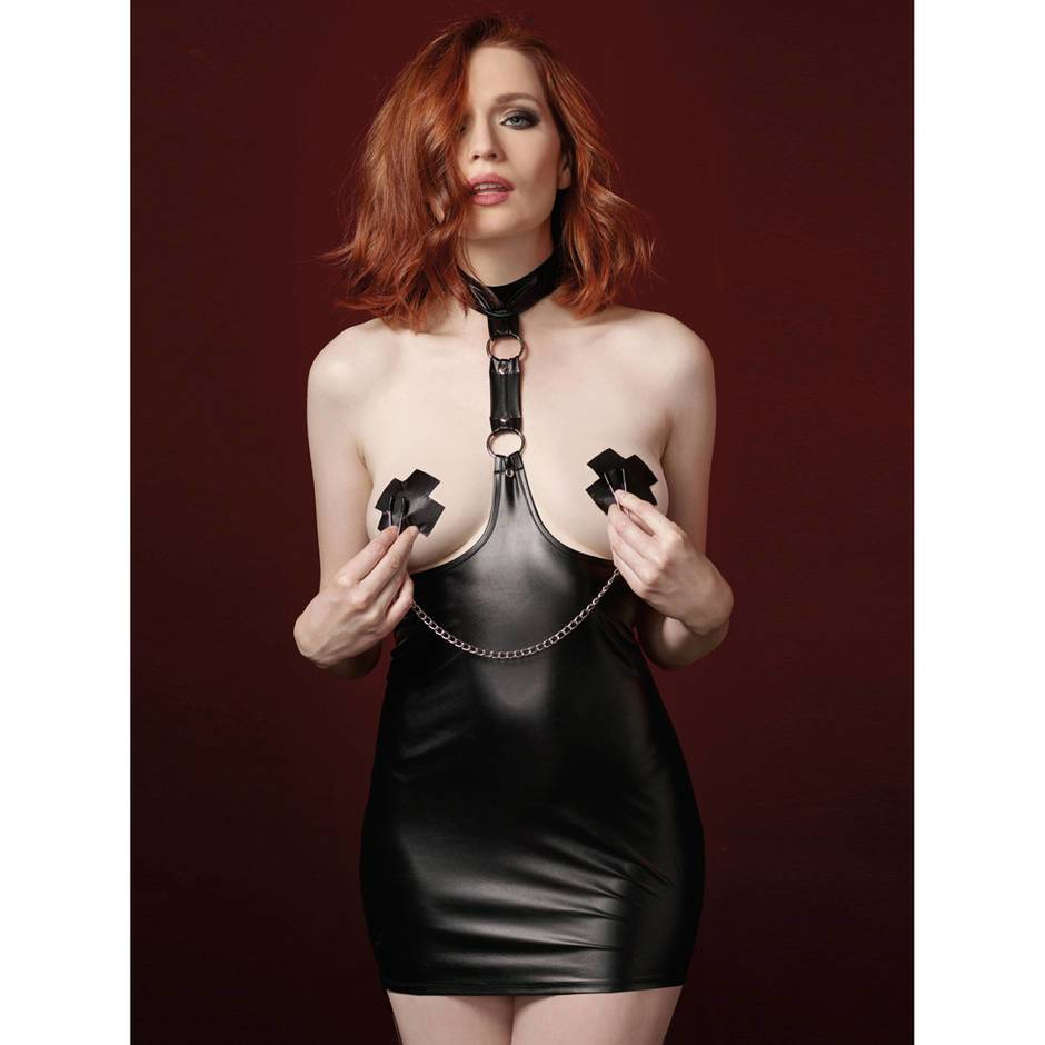 Dreamgirl Wet Look Harness Mini Dress with Chain Nipple Clamps
