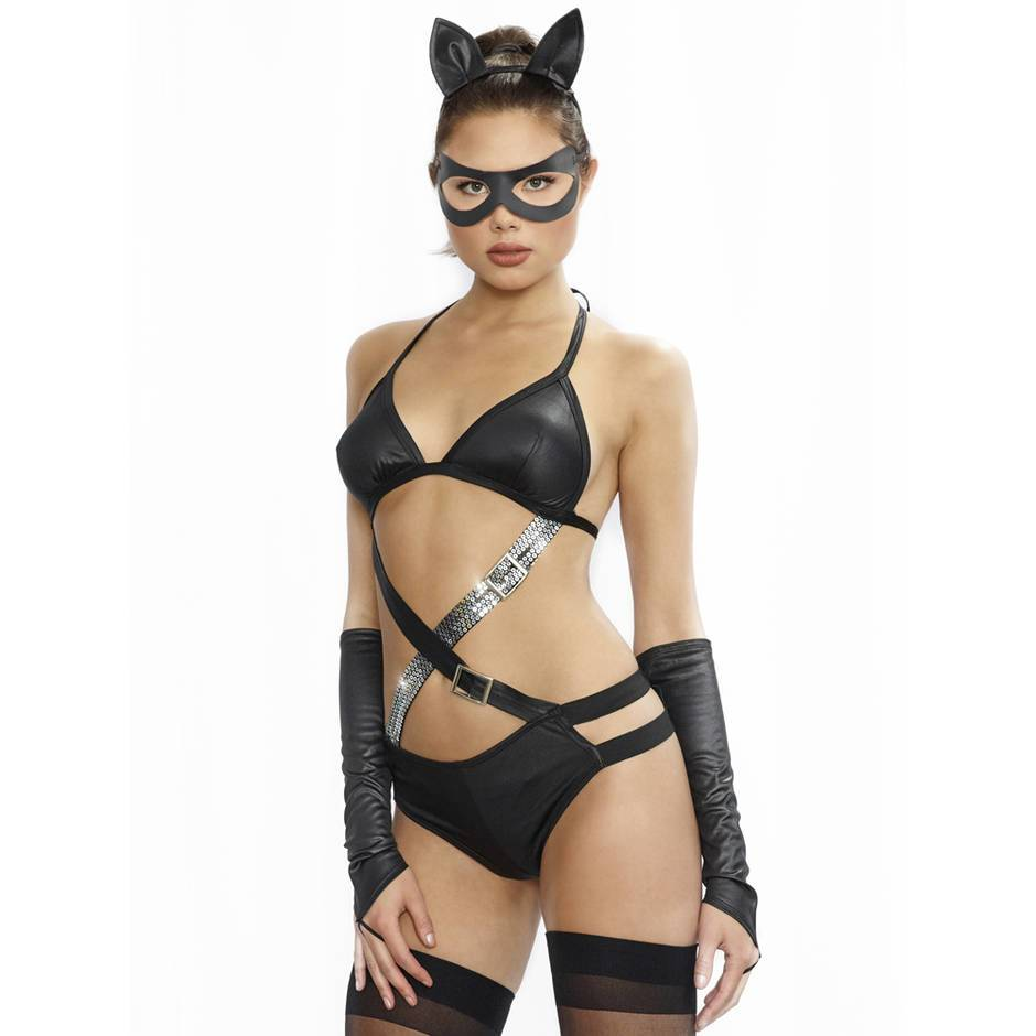 Dreamgirl Wet Look Fetish Cat Costume