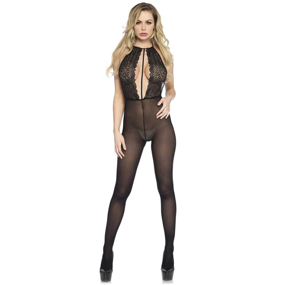Leg Avenue Backless Halterneck Keyhole Lace and Opaque Bodystocking