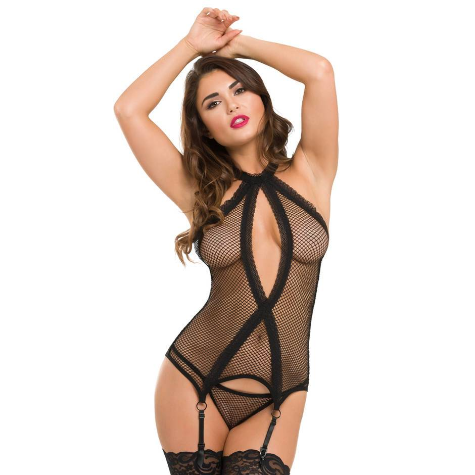 Ensemble string bustier résille dentelle Provocatease noir, Lovehoney