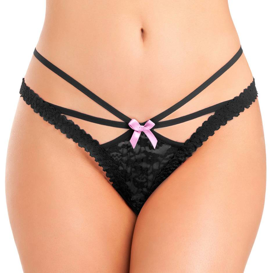 Lovehoney Black Crotchless Strappy Lace Thong