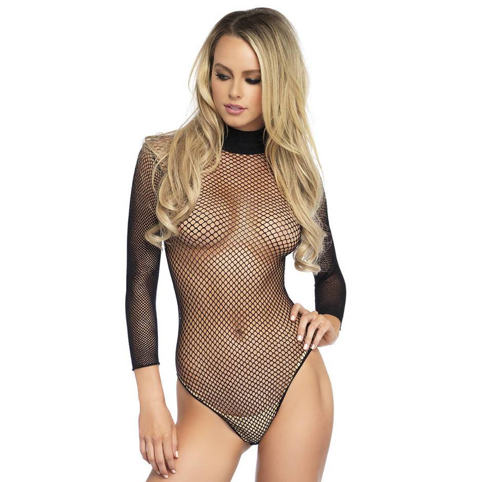 Leg Avenue Fishnet High Neck Long Sleeved Body