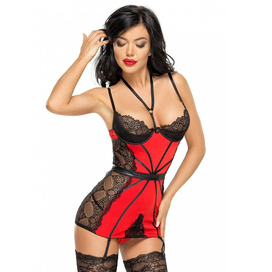 Beauty Night Red Wet Look and Lace Harness Chemise