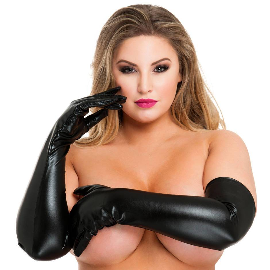 Lovehoney Plus Size Black Wet Look Elbow-Length Gloves