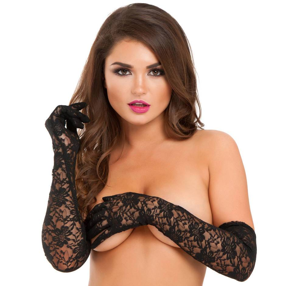 Lovehoney Black Elbow-Length Lace Gloves