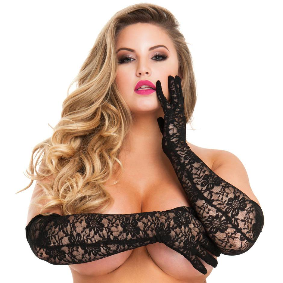 Lovehoney Plus Size Black Elbow-Length Lace Gloves