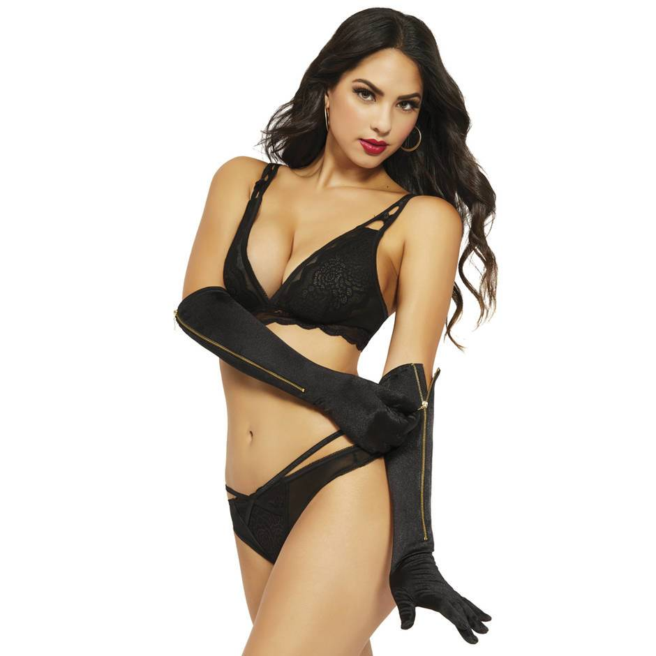 Seven 'til Midnight Satin Elbow Length Gloves with Zip