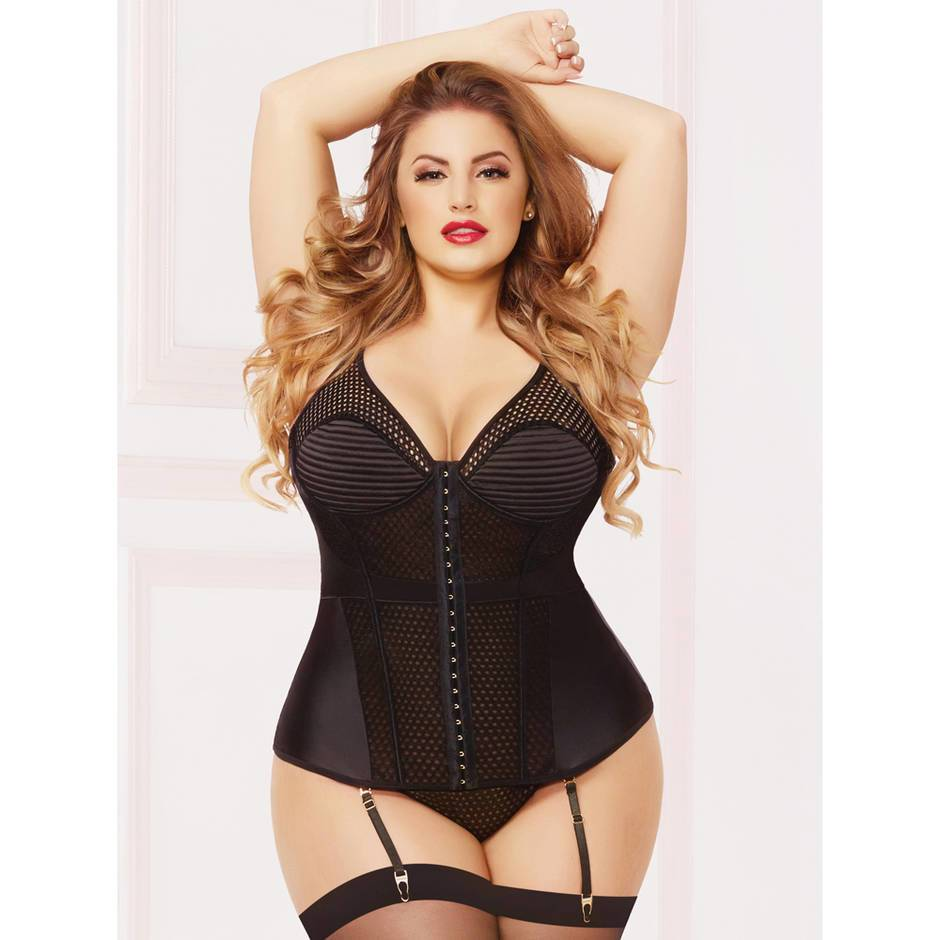 Seven 'til Midnight Plus Size Underwired Quilted Bustier Set