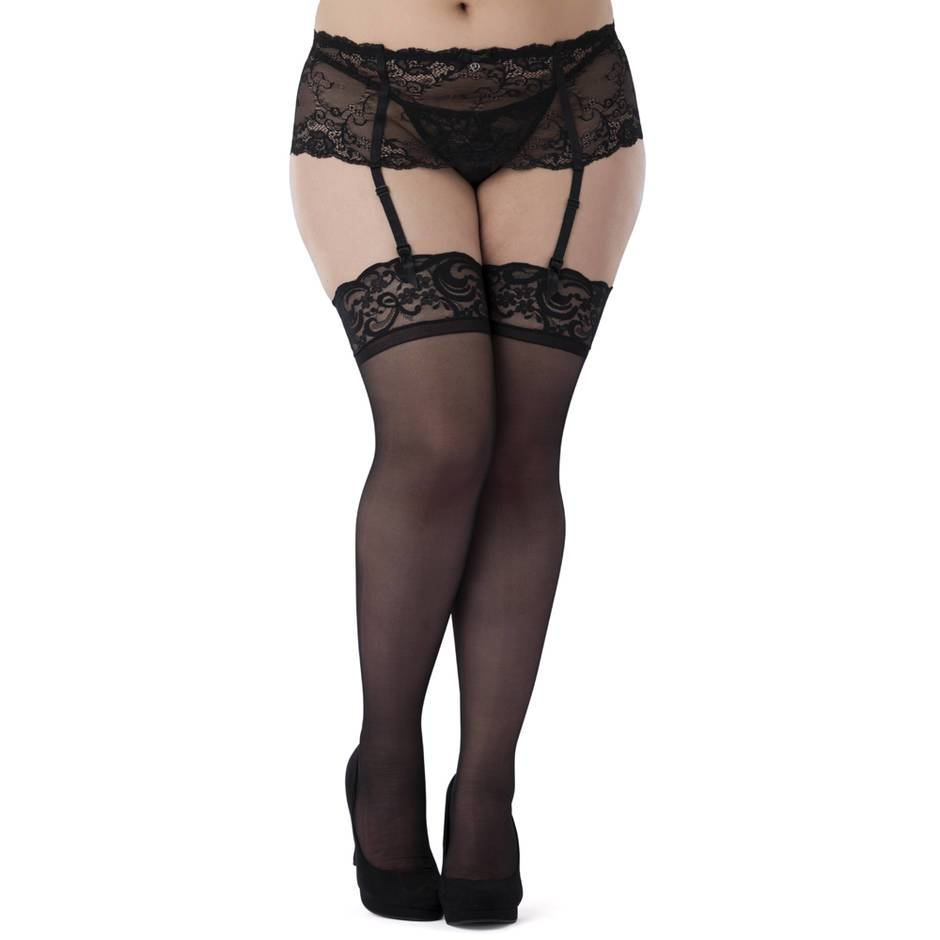 Lovehoney Curve Size 5X+ Sheer Black Lace Top Thigh High Stockings