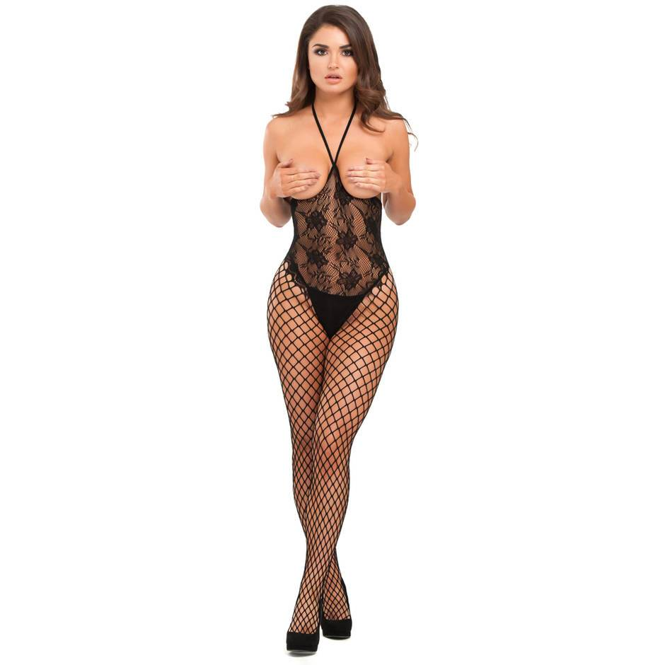 Lovehoney Black Fishnet and Lace Open Cup Crotchless Bodystocking