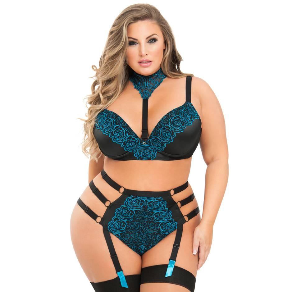 Lovehoney Plus Size Midnight Soiree BH-Set (blau)