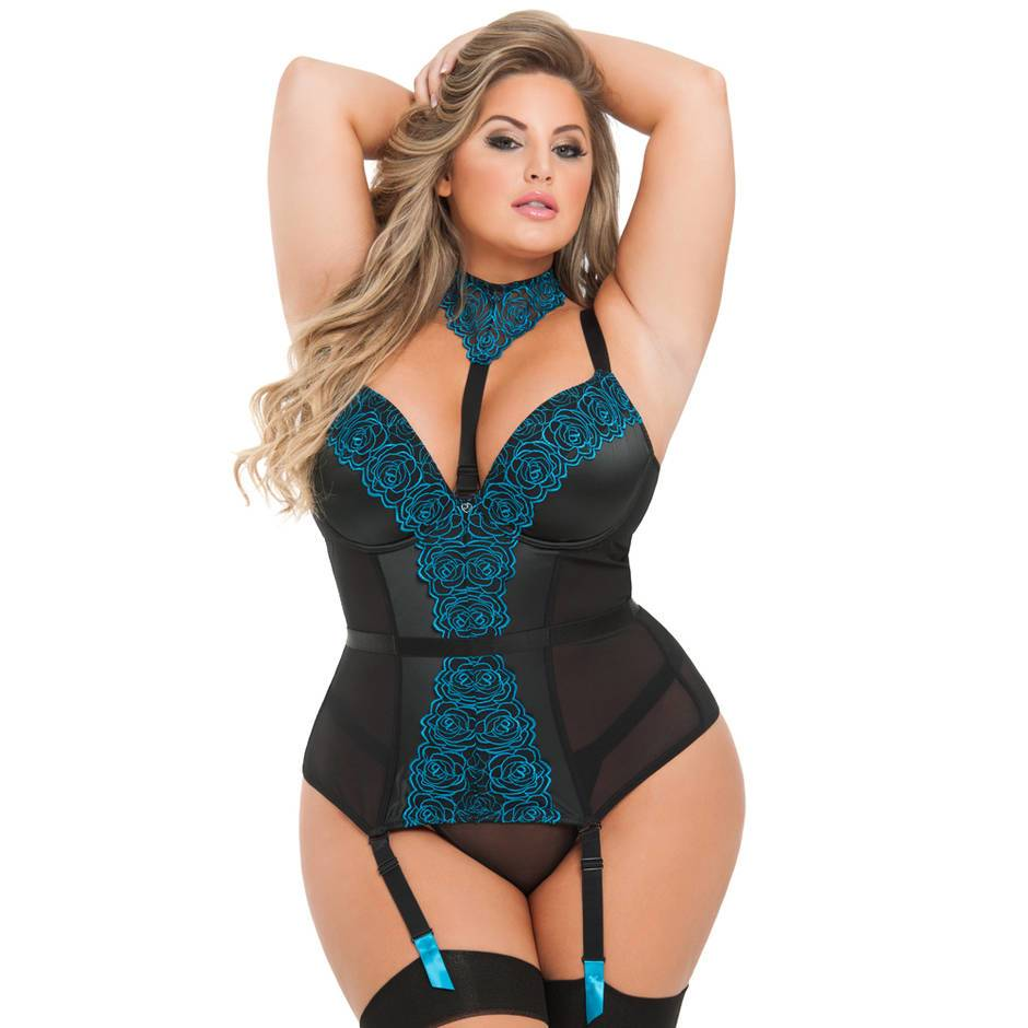 Lovehoney Plus Size Midnight Soiree Blue Floral Basque Set