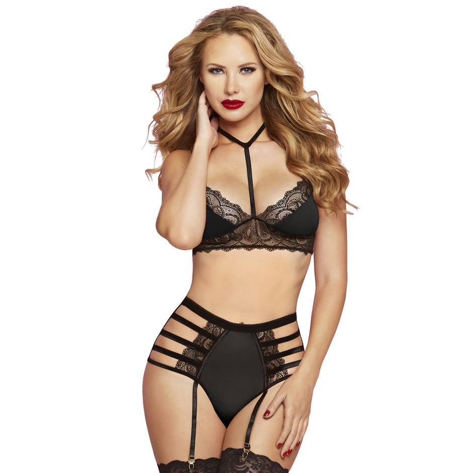 Seven 'til Midnight Black Cage Bra and High-Waisted Briefs Set