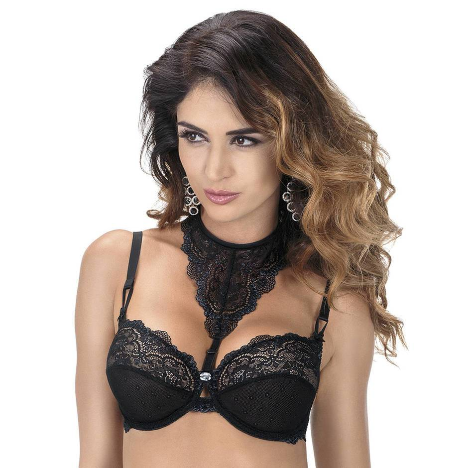 Roza Zulaj Underwired Black Lace Bra with Detachable Choker