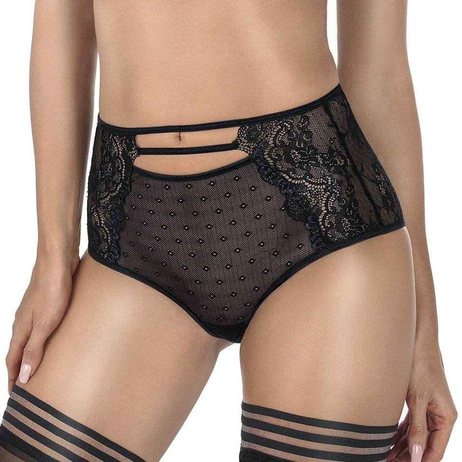 Roza High Waisted Black Lace and Mesh Knickers