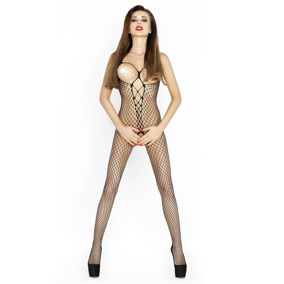 Passion Black Open Cup Crotchless Fishnet Bodystocking
