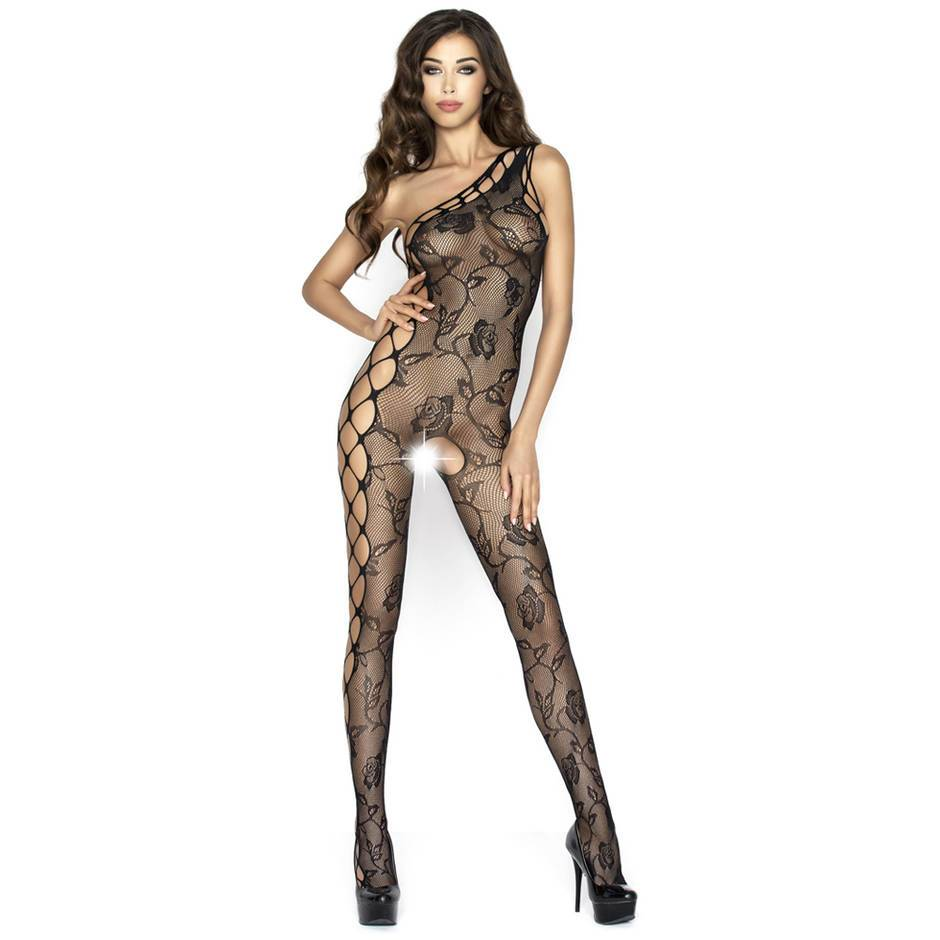Passion Black Asymmetric Crotchless Lace Bodystocking
